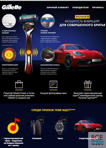Gillette акция - выиграй Porsche Cayman